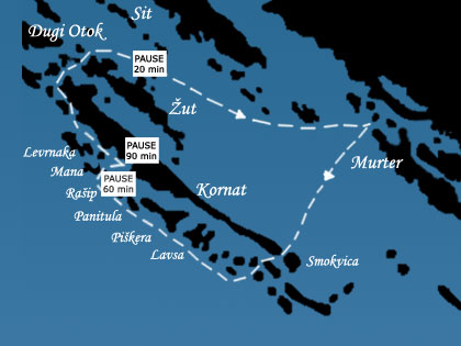 Excursion to National park Kornati by boat Racic - Kornati map